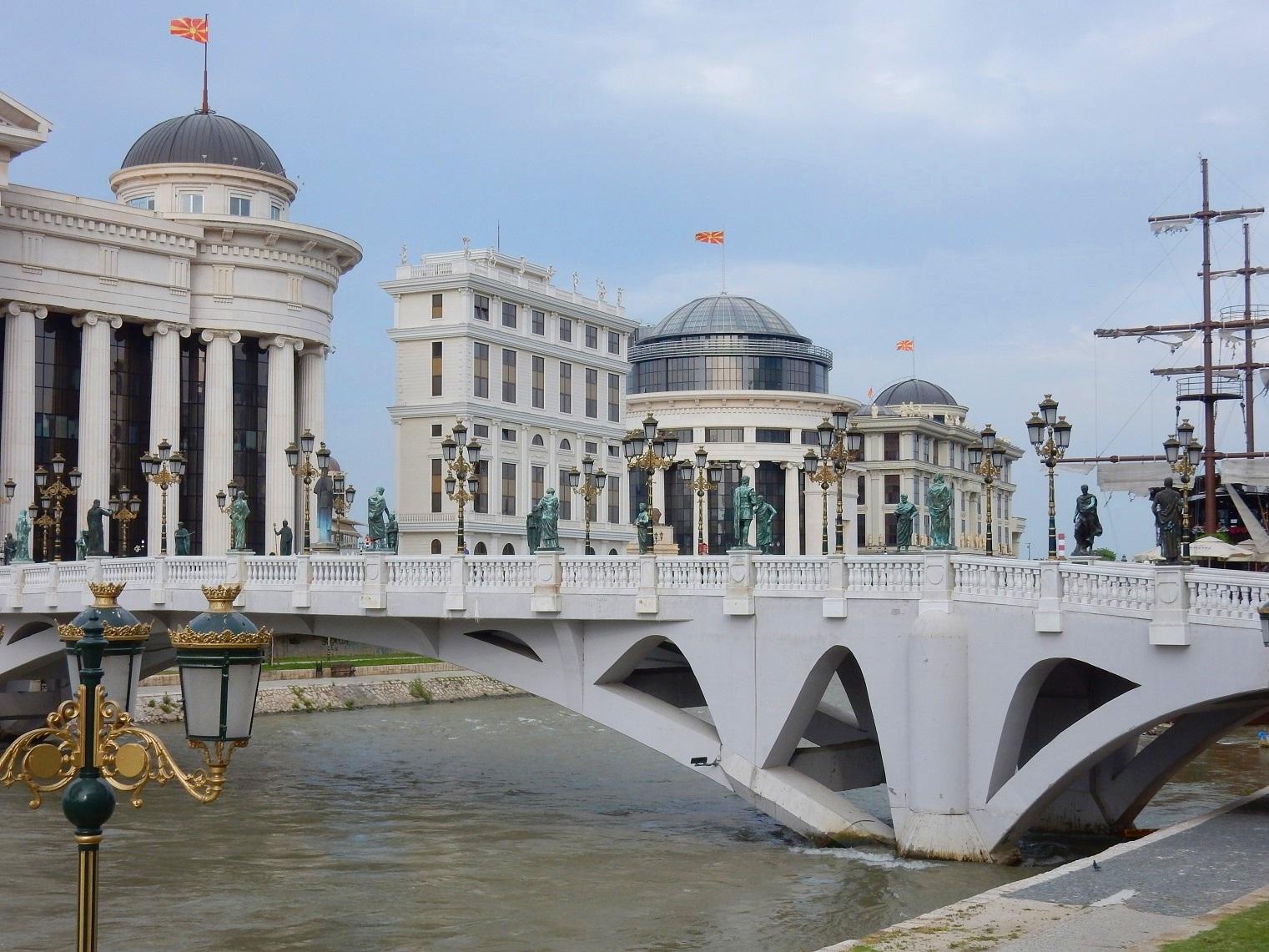 Skopje architecture bridge boat