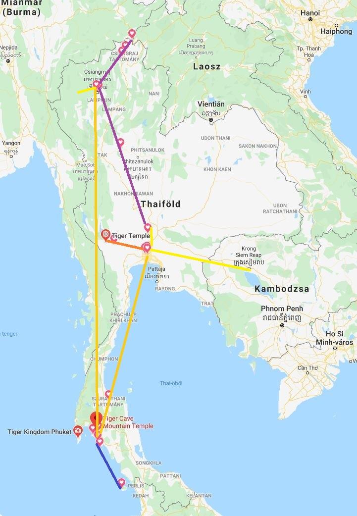 Thaiföld útiterv útleírás thailand itinerary