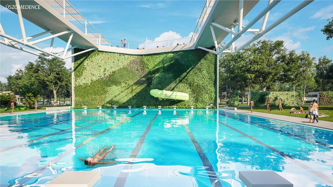 Debrecen Aquaticum strand úszómedence csúszda