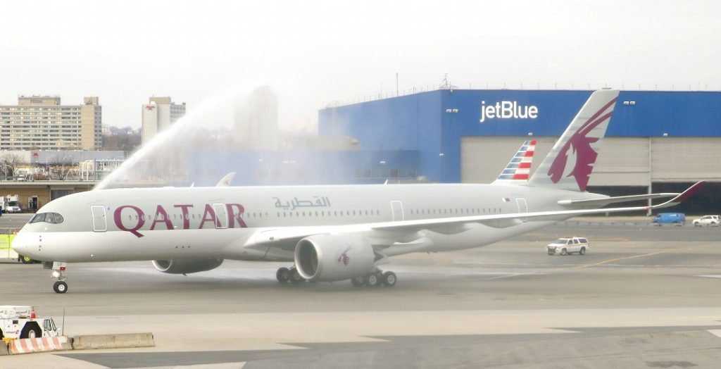 Qatar Airways vízágyú A350