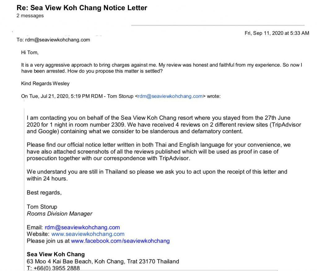 Thaiföld börtön vendég turista veléemény Sea View Resosrt Koh Chang