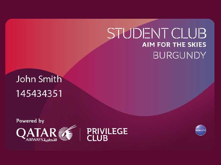 Qatar Airways diák klub törzsutas program hallgatóknak kártya