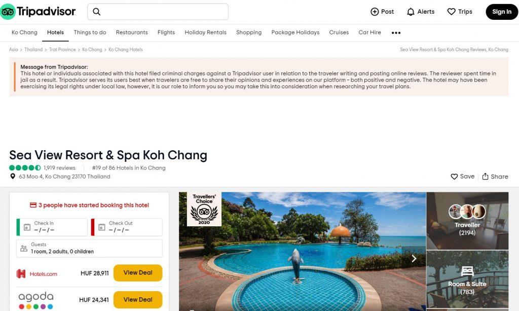 Tripadvisor értékelés Thaiföld börtön szálloda