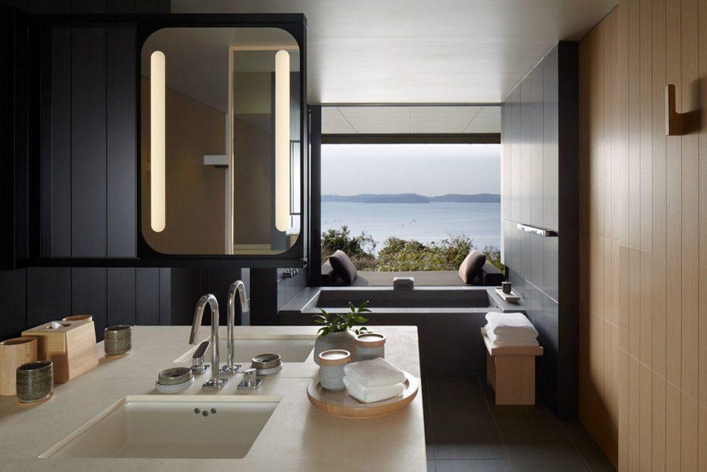 Amanemu japán nemzeti park wellness hotel szálloda fürdőszoba gyógyfürdő