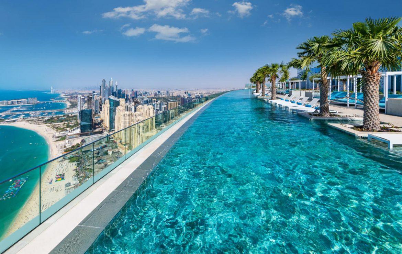 Address beach resort Dubaj legmagasabb tetőmedence infinity pool Guinness rekord