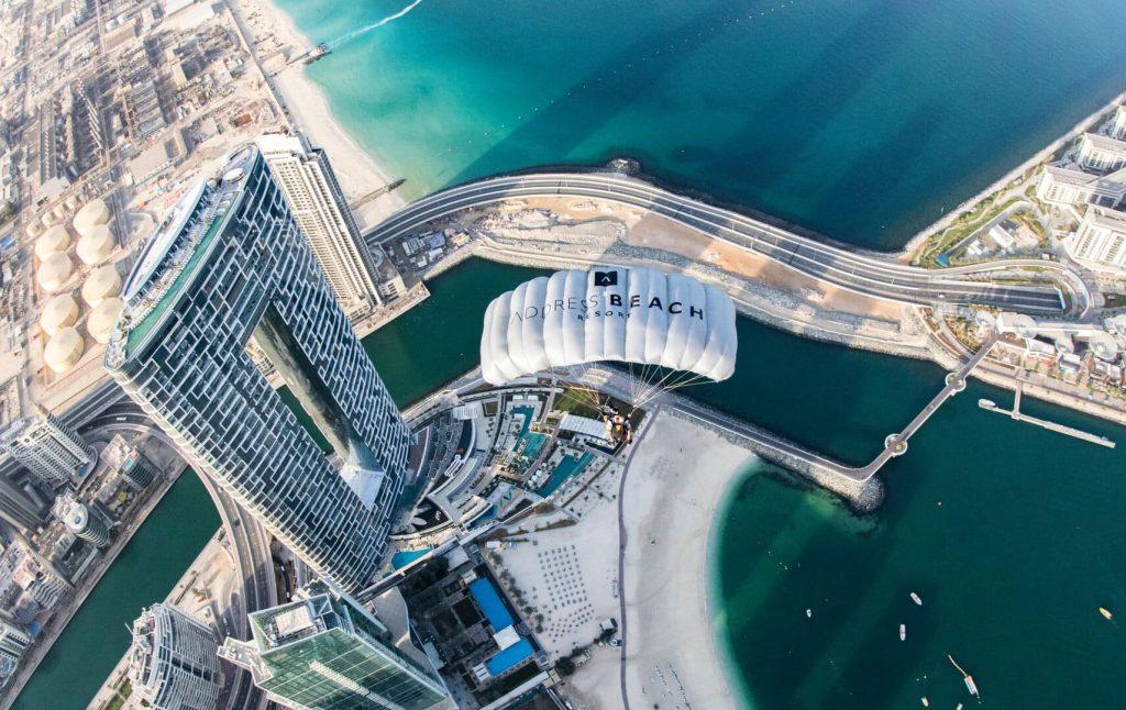 Address beach resort Dubaj legmagasabb tetőmedence infinity pool Guinness rekord légifotó