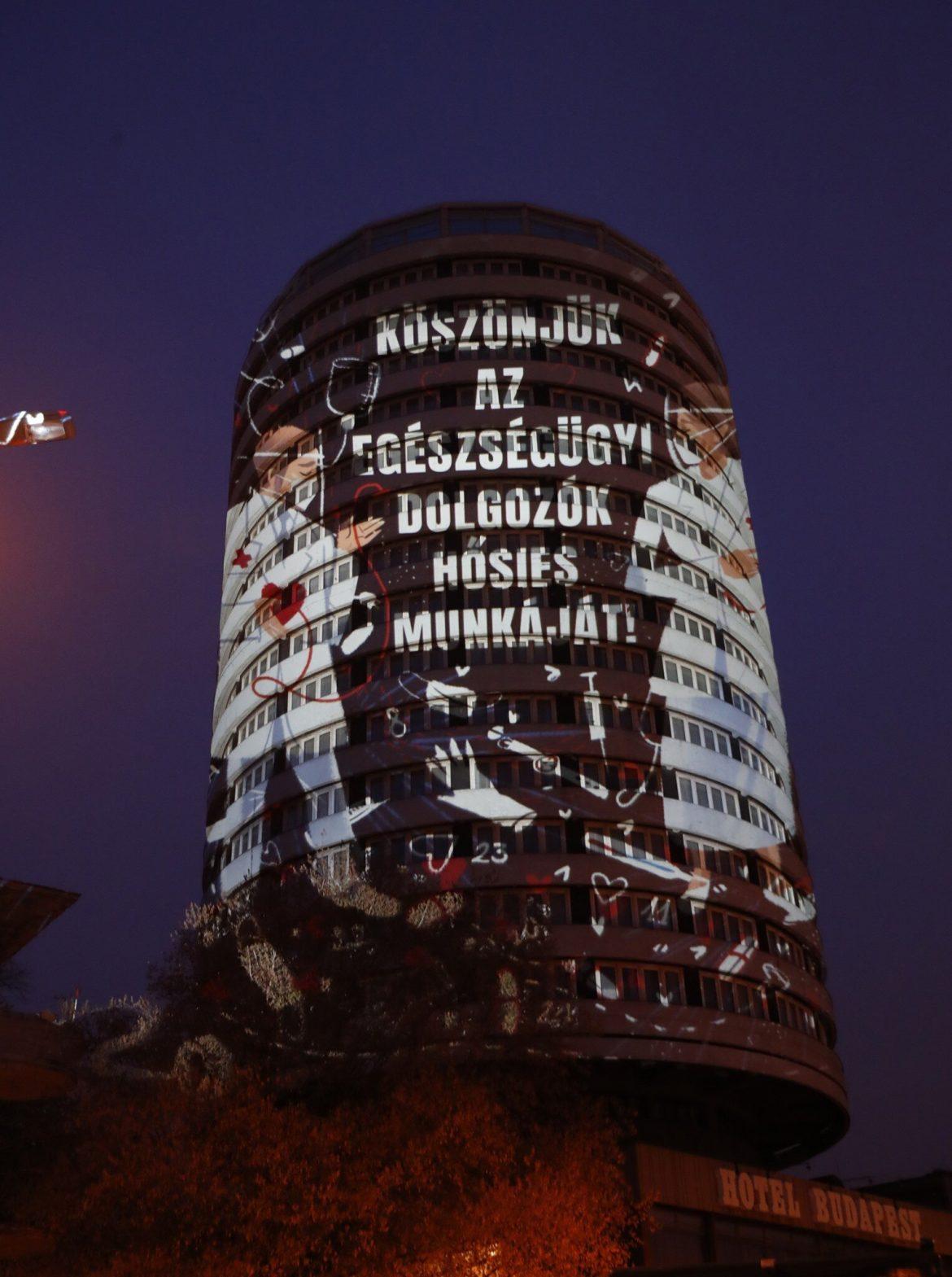 danubius hotel körszálló fényfestés köszönet egészségügyi dolgozóknak II. kerület