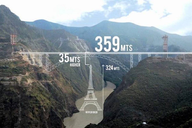 világ legmagasabb vasúti hídja Chenab híd India