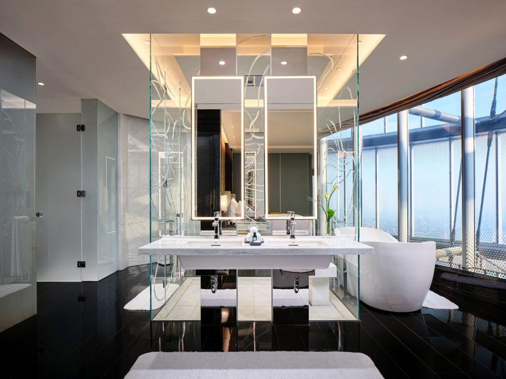 J Hotel Shanghai világ legmagasabb szállodája fürdőszoba